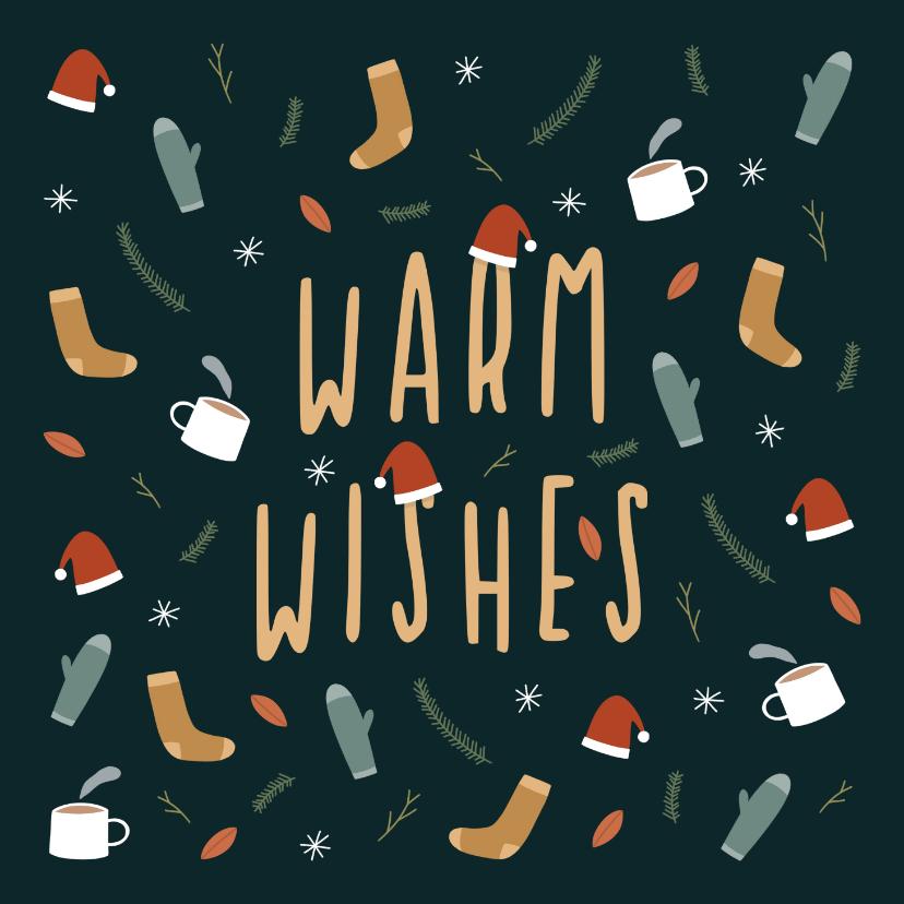 Kerstkaarten - Kerstkaart warm wishes met leuke illustraties