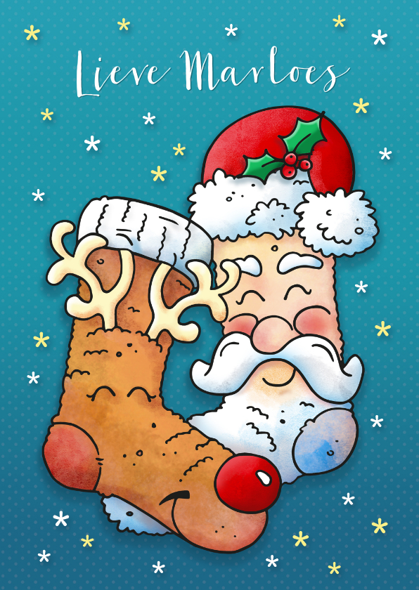 Kerstkaarten - Kerstkaart warme sokken pyjamadag