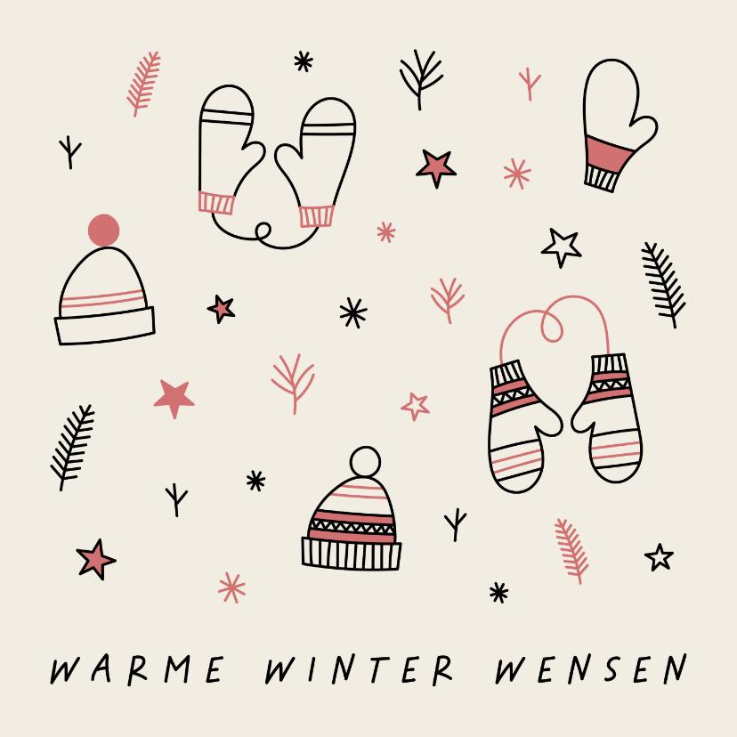 Kerstkaarten - Kerstkaart warme winter wensen met leuke illustraties