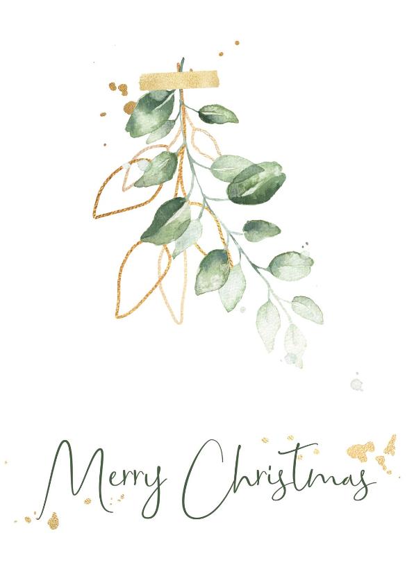 Kerstkaarten - Kerstkaart waterverf mistletoe