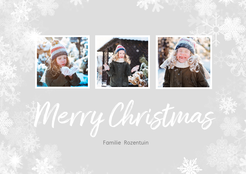 Kerstkaarten - Kerstkaart winter 3 foto's langwerpig