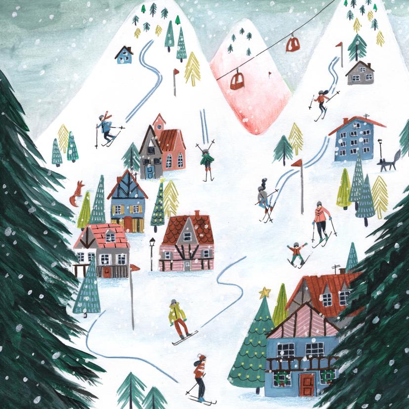 Kerstkaarten - Kerstkaart winter cozy ski landschap