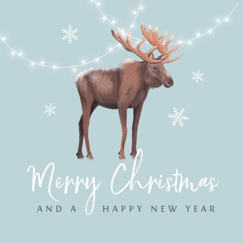 Kerstkaarten - Kerstkaart winter eland lampjes sneeuwvlokken illustratie