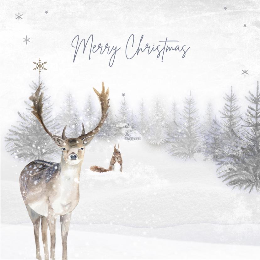 Kerstkaarten - Kerstkaart winter hert