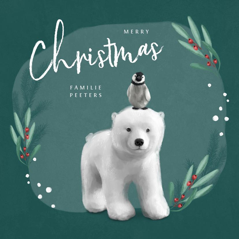 Kerstkaarten - Kerstkaart winter ijsbeer pinguin dieren merry christmas