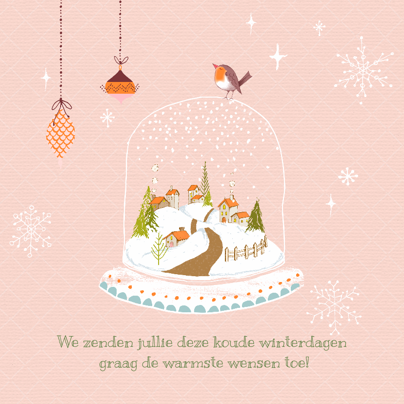 Kerstkaarten - Kerstkaart winter-pastel