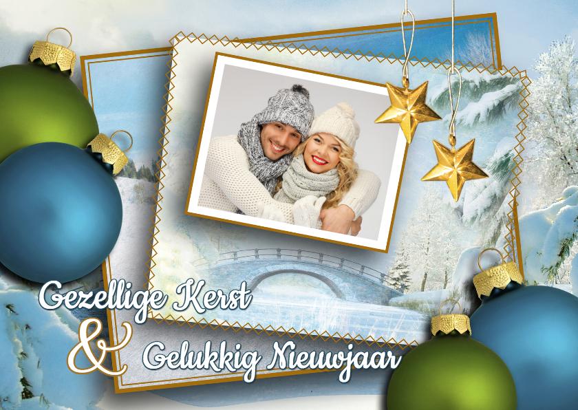 Kerstkaarten - Kerstkaart winters blauw foto
