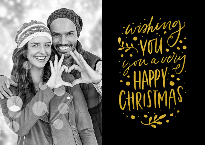 Kerstkaarten - Kerstkaart Wishing you a Happy Christmas met eigen foto