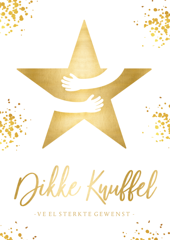 Kerstkaarten - Kerstkaart wit - dikke knuffel ster in goud met omarming