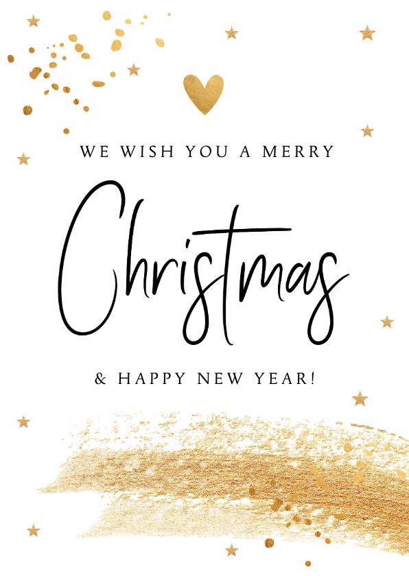 Kerstkaarten - Kerstkaart wit met gouden confetti en brushstrook