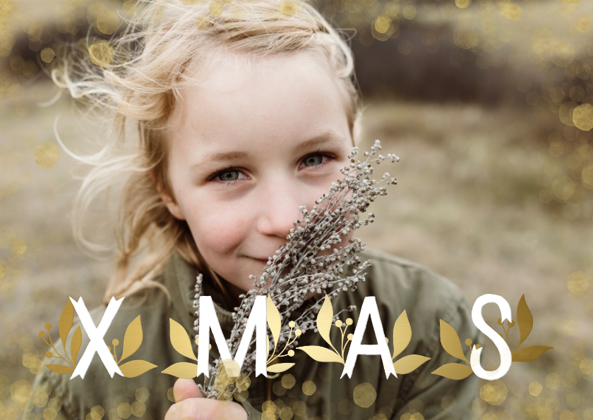 Kerstkaarten - Kerstkaart XMAS goudlook grote foto met confetti