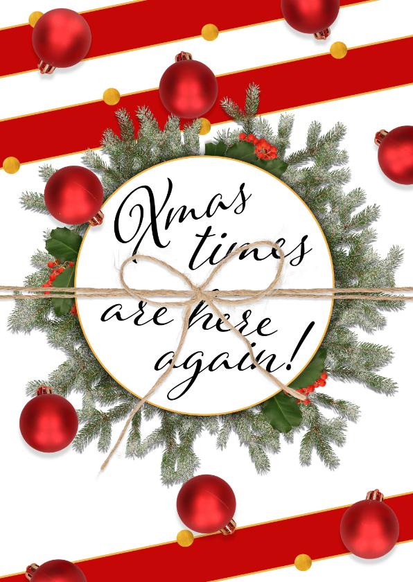 Kerstkaarten - Kerstkaart Xmas is here again staand