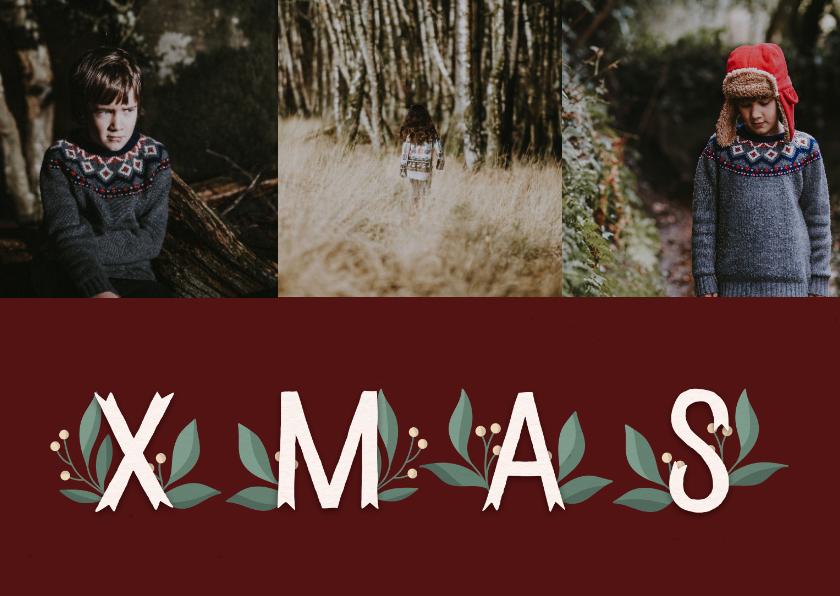 Kerstkaarten - Kerstkaart 'Xmas' met takjes en foto's