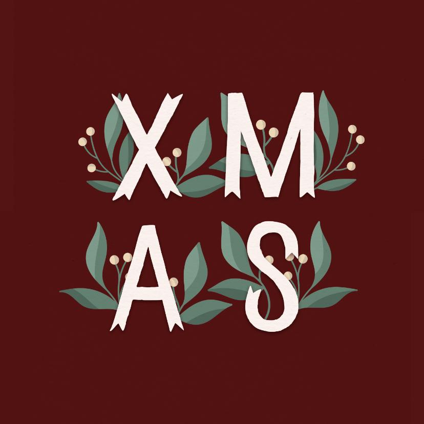 Kerstkaarten - Kerstkaart 'Xmas' met takjes