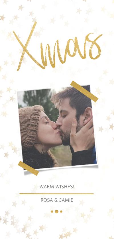 Kerstkaarten - Kerstkaart Xmas wit met foto en goud - Een gouden kerst