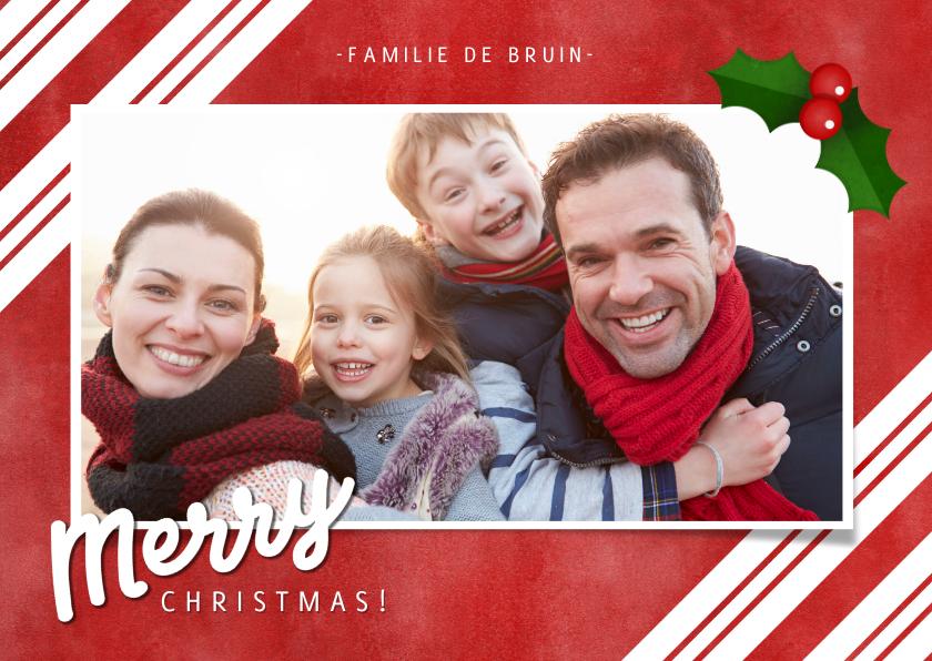 Kerstkaarten - Kerstkaart zuurstok strepen, grote foto en Merry Christmas!
