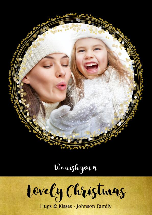 Kerstkaarten - Kerstkaart zwart goud cirkels sterren en confetti