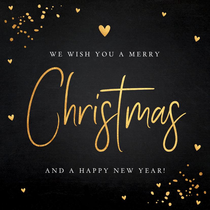 Kerstkaarten - Kerstkaart zwart goudlook typografie