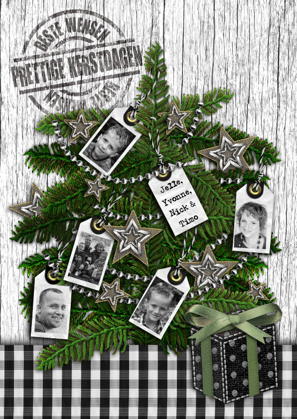 Kerstkaarten - Kerstkaart zwart kerstboom grijs eigen foto's