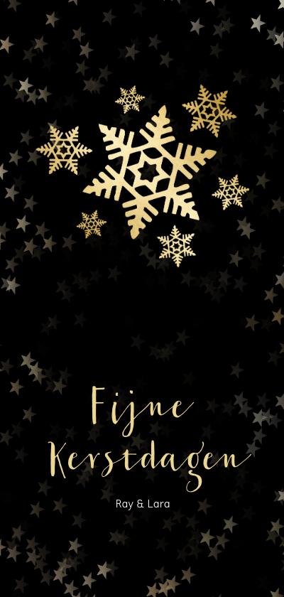 Kerstkaarten - Kerstkaart zwart langwerpig sneeuwvlok - Een gouden kerst
