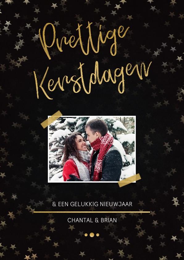 Kerstkaarten - Kerstkaart zwart met foto en goud