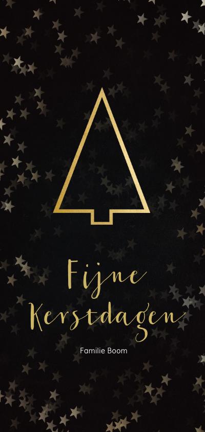 Kerstkaarten - Kerstkaart zwart met gouden kerstboom - Een gouden kerst