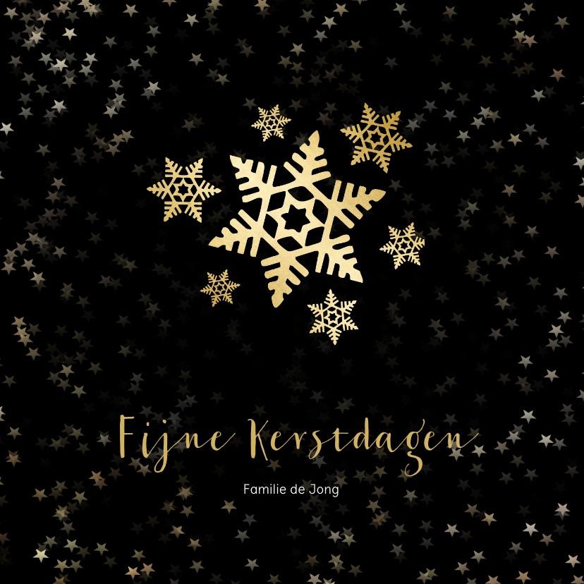 Kerstkaarten - Kerstkaart zwart met gouden sneeuwvlok - een gouden kerst