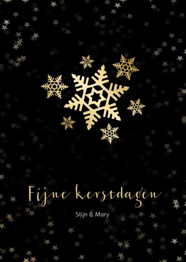 Kerstkaarten - Kerstkaart zwart met sneeuwvlok van goud - een gouden kerst