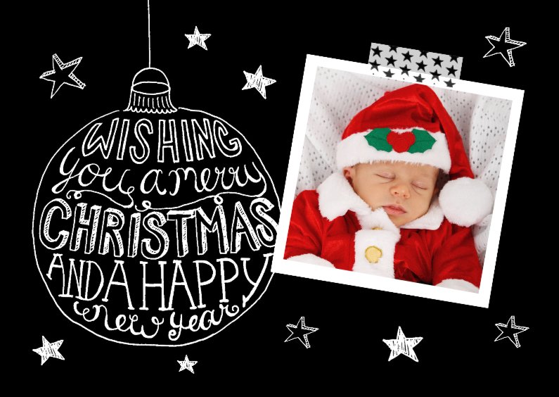 Kerstkaarten - Kerstkaart zwart-wit tekst & foto