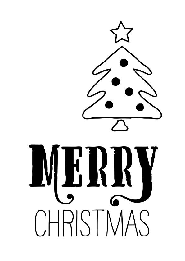 Kerstkaarten - Kerstkaart Zwartwit kerstboom met ballen