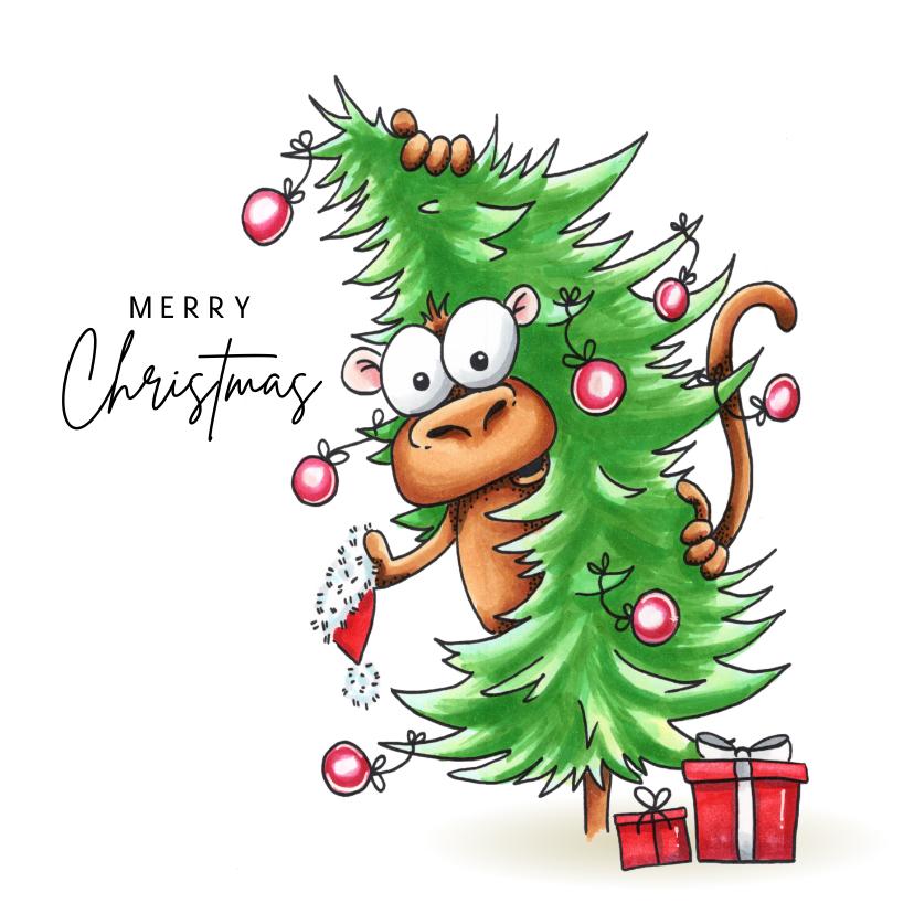 Kerstkaarten - kerstkaarten aap met kerstboom en Corona de wereld uit