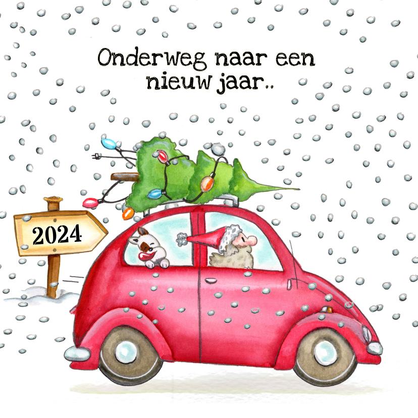 Kerstkaarten - Kerstkaarten auto onderweg