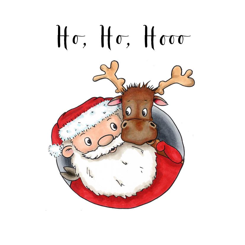 Kerstkaarten - Kerstkaarten kerstman met rendier
