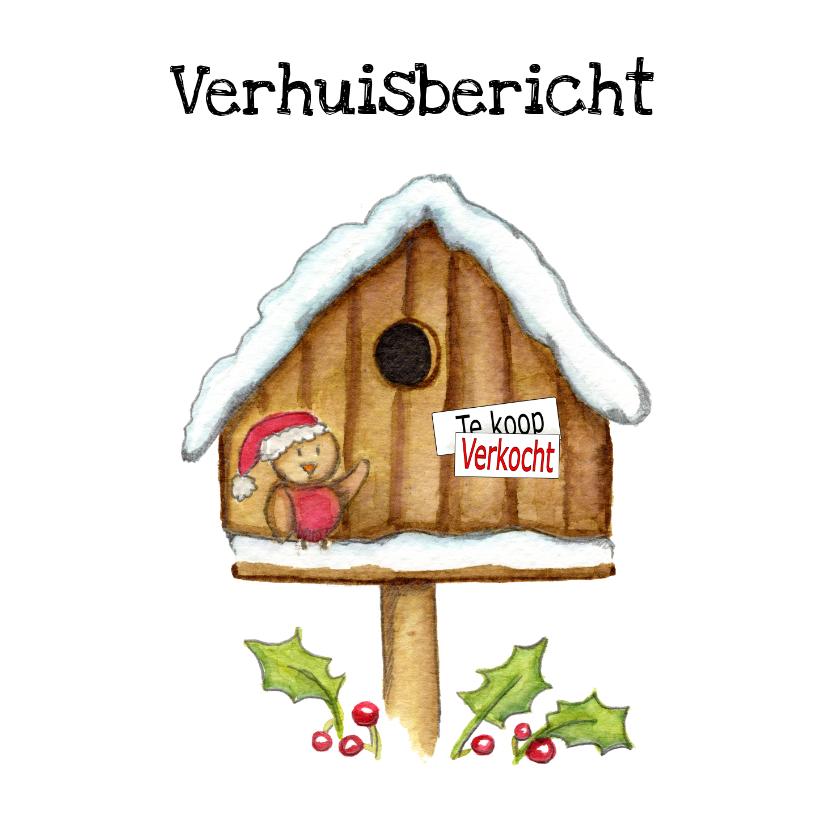 Kerstkaarten - Kerstkaarten verhuiskaart vogelhuis