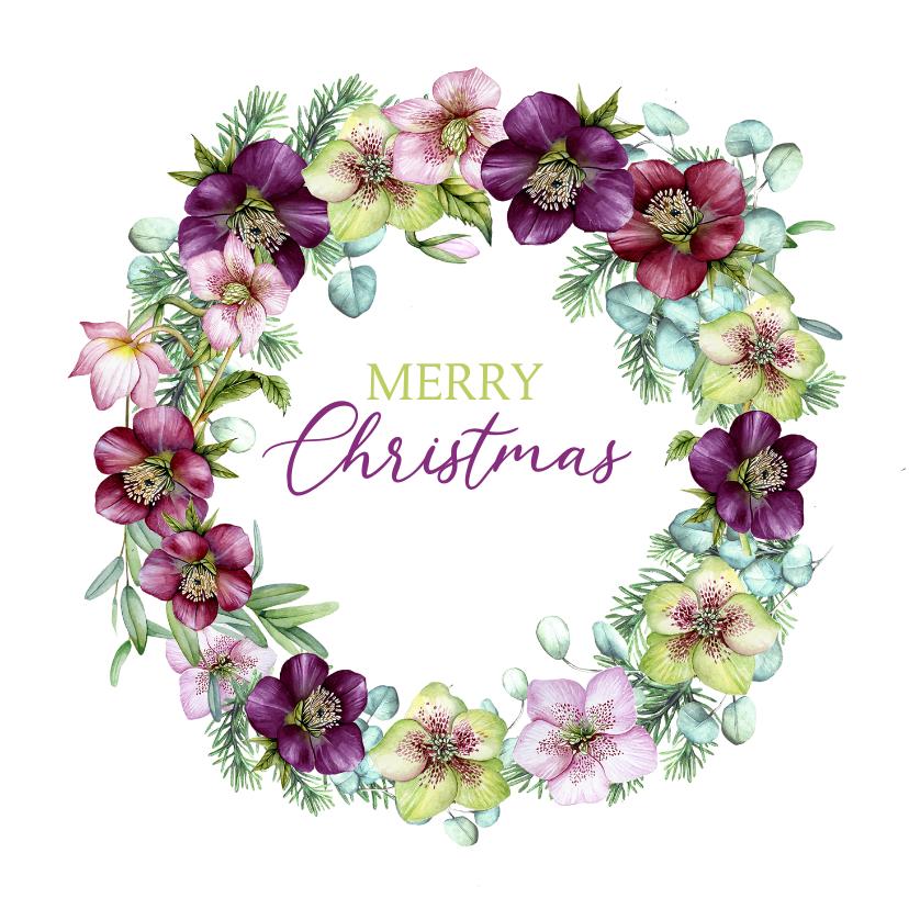 Kerstkaarten - Kerstkrans helleborusbloemen