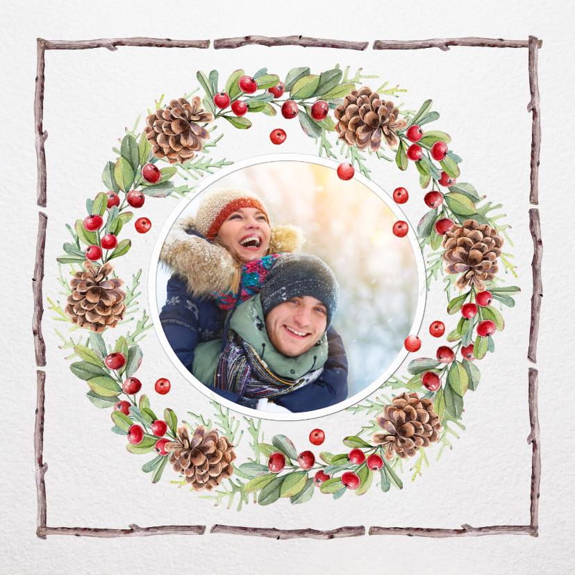 Kerstkaarten - Kerstkrans met houten kader voor eigen foto