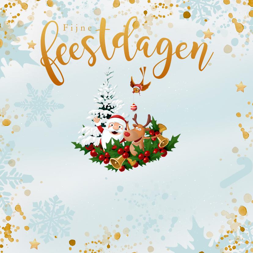 Kerstkaarten - Kerstman met Rudolf, kerstboom en vogeltje met kerstbal