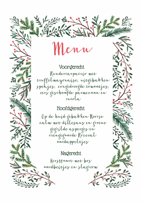 Kerstkaarten - Kerstmenu kaart dennetakjes elegant