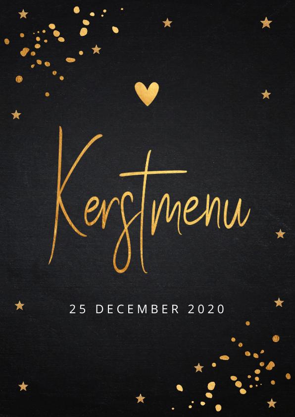Kerstkaarten - Kerstmenukaart met gouden confetti