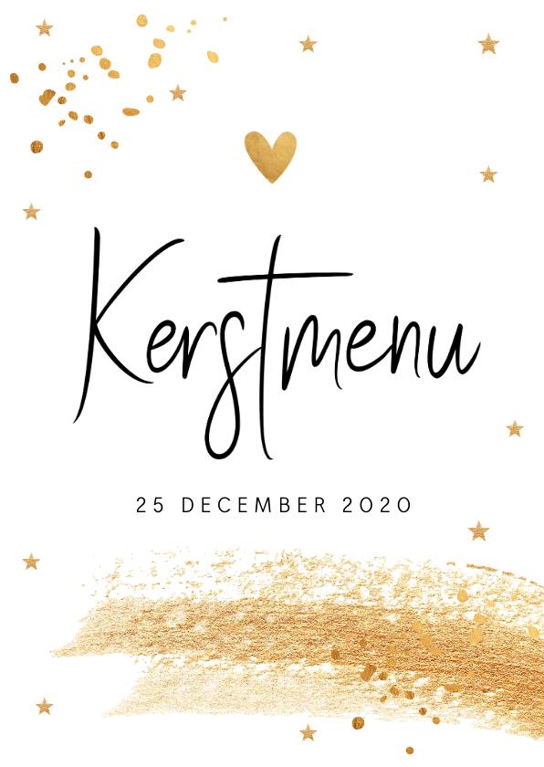 Kerstkaarten - Kerstmenukaart gouden confetti