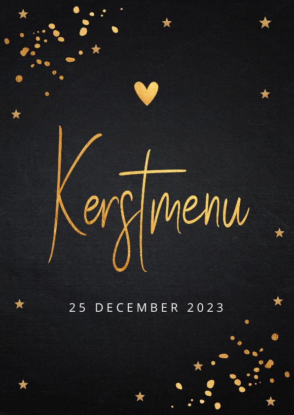 Kerstkaarten - Kerstmenukaart zwart goudlook confetti
