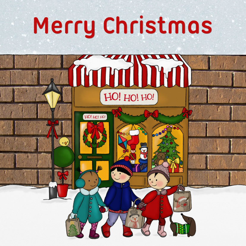 Kerstkaarten - Kerstmis Kerstwinkeltje