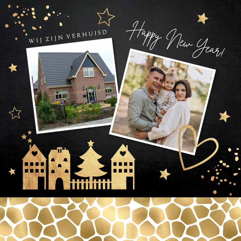 Kerstkaarten - Kerstverhuiskaart foto huisjes panterprint goudlook