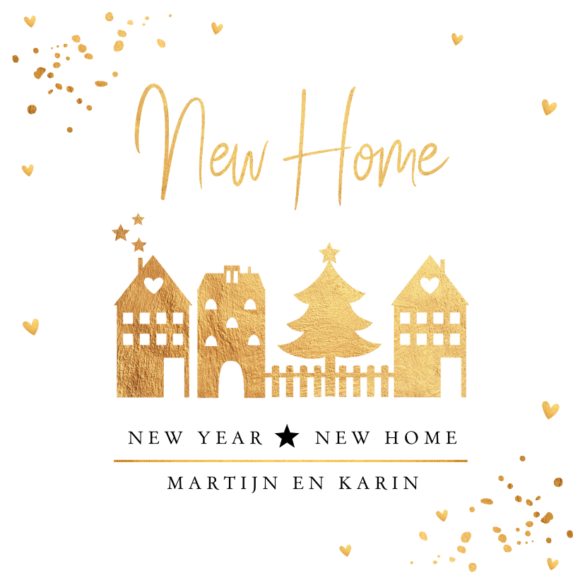 Kerstkaarten - Kerstverhuiskaart huisjes goudlook confetti
