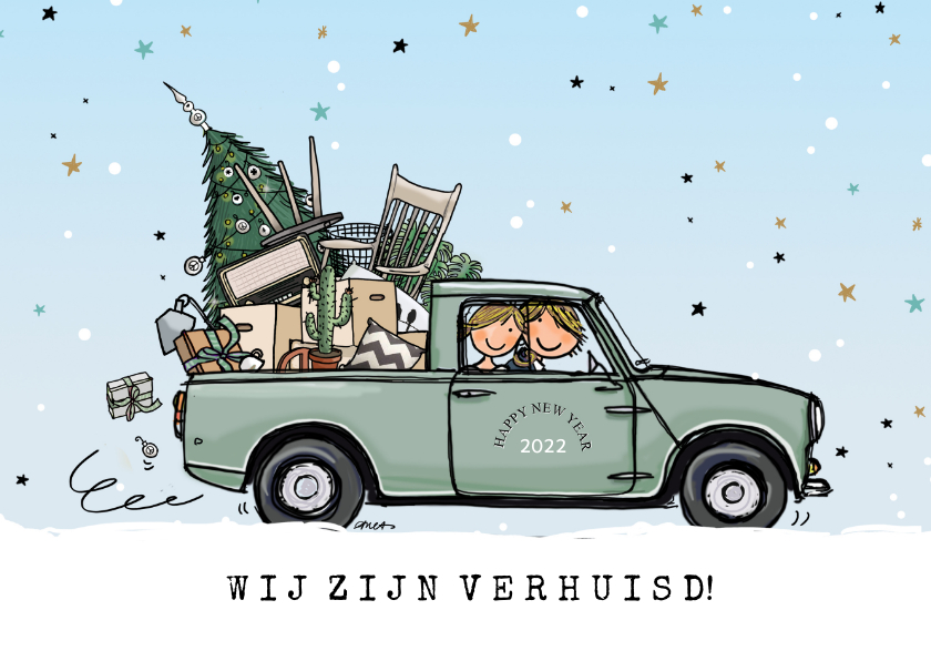 Kerstkaarten - Kerstverhuiskaart Mini pick-up