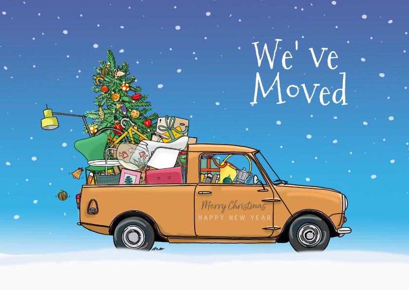 Kerstkaarten - Kerstverhuiskaart mini pickup geel