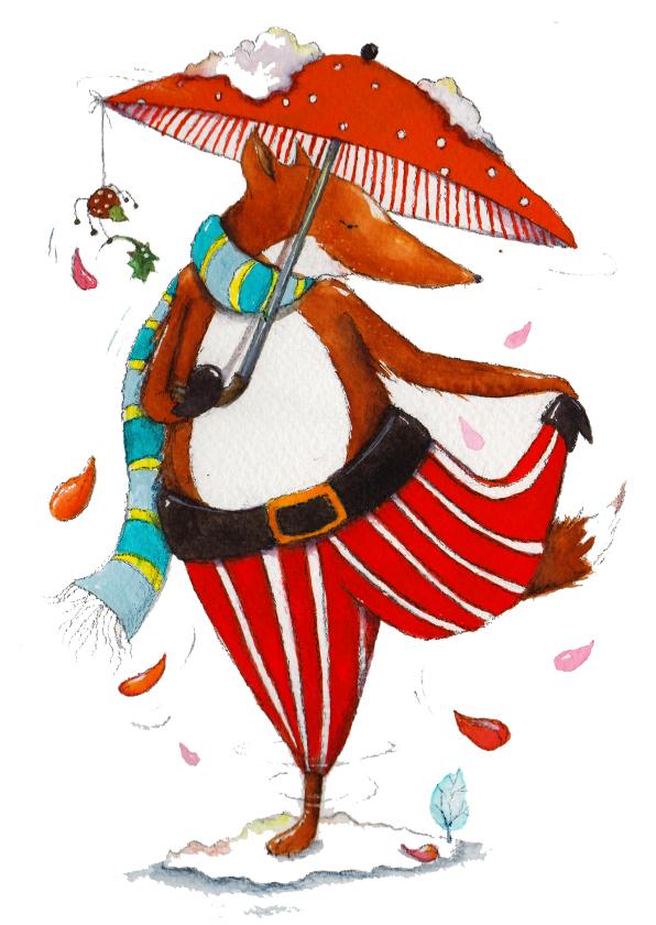 Kerstkaarten - Kesrtkaart met dansende vos
