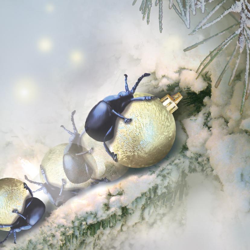 Kerstkaarten - Kevertje op een kerstbal