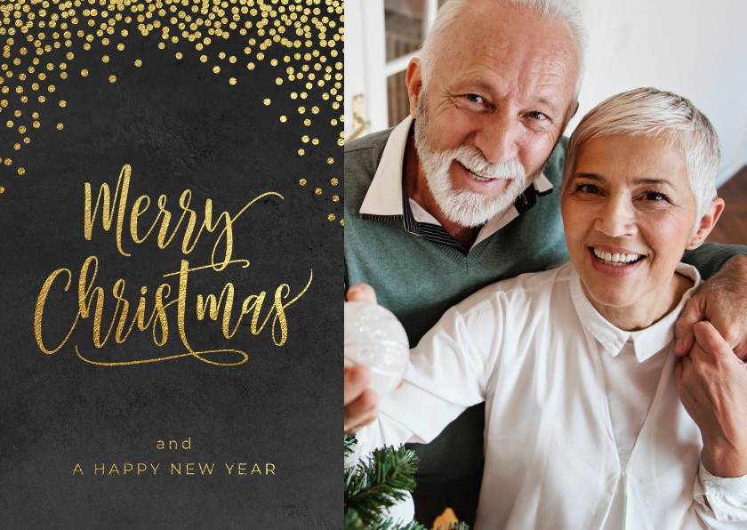 Kerstkaarten - Klassieke foto kerstkaart confetti goud op zwart