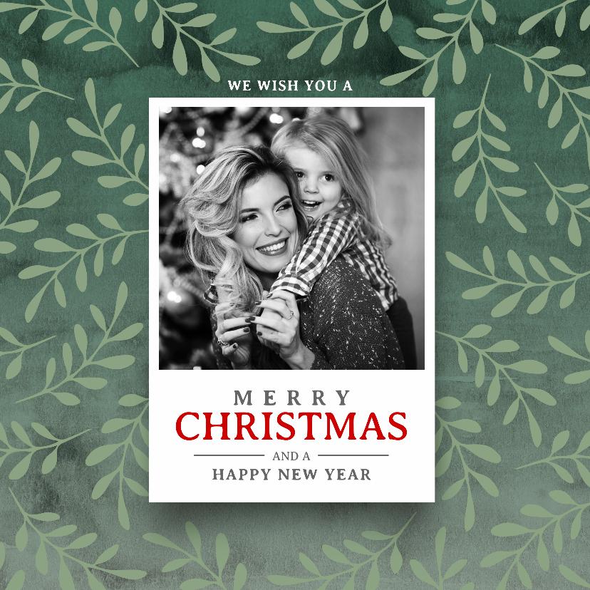Kerstkaarten - Klassieke kerstkaart foto kerst takken